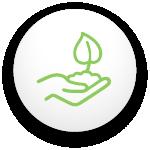 Pastille avec un icône d'une main avec la terre et une feuille