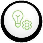 Icône d'une ampoule avec un engrenage pour signifier un eclairage automatique