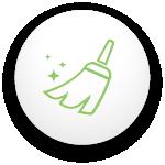icône d'un balais avec des petites étoiles qui scintiillent pour signifier la propreté