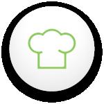 icône qui montre le chapeau d'un chef cuisinier